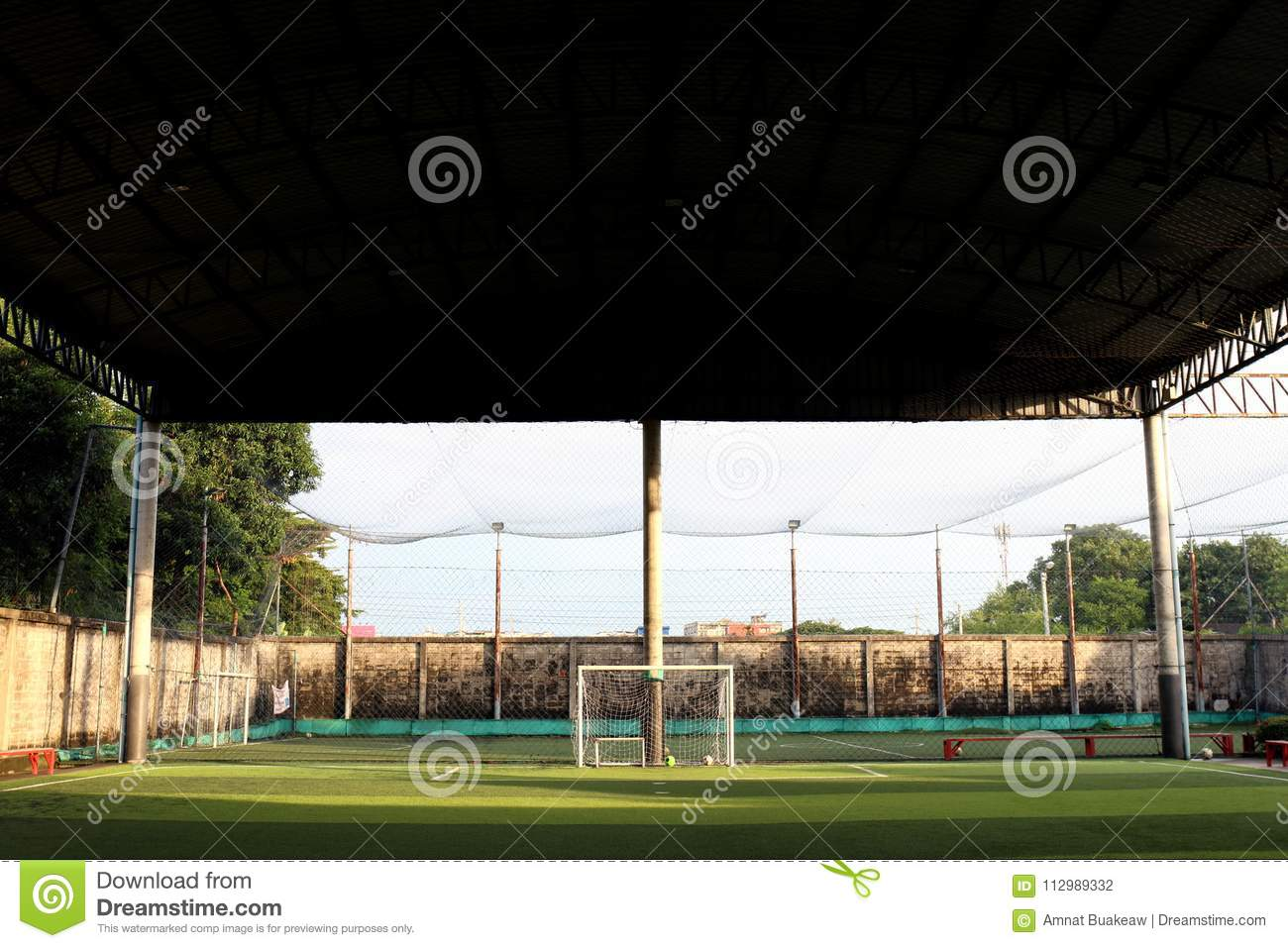 Football field Small, Futsal ball field in the gym indoor, Soccer sport field outdoor park with artificial turf