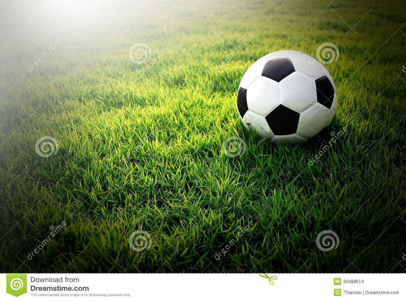 Soccer Football On Green Field With Blue Sky Background: Football Field Soccer Stadium On The Green Grass Blue Sky