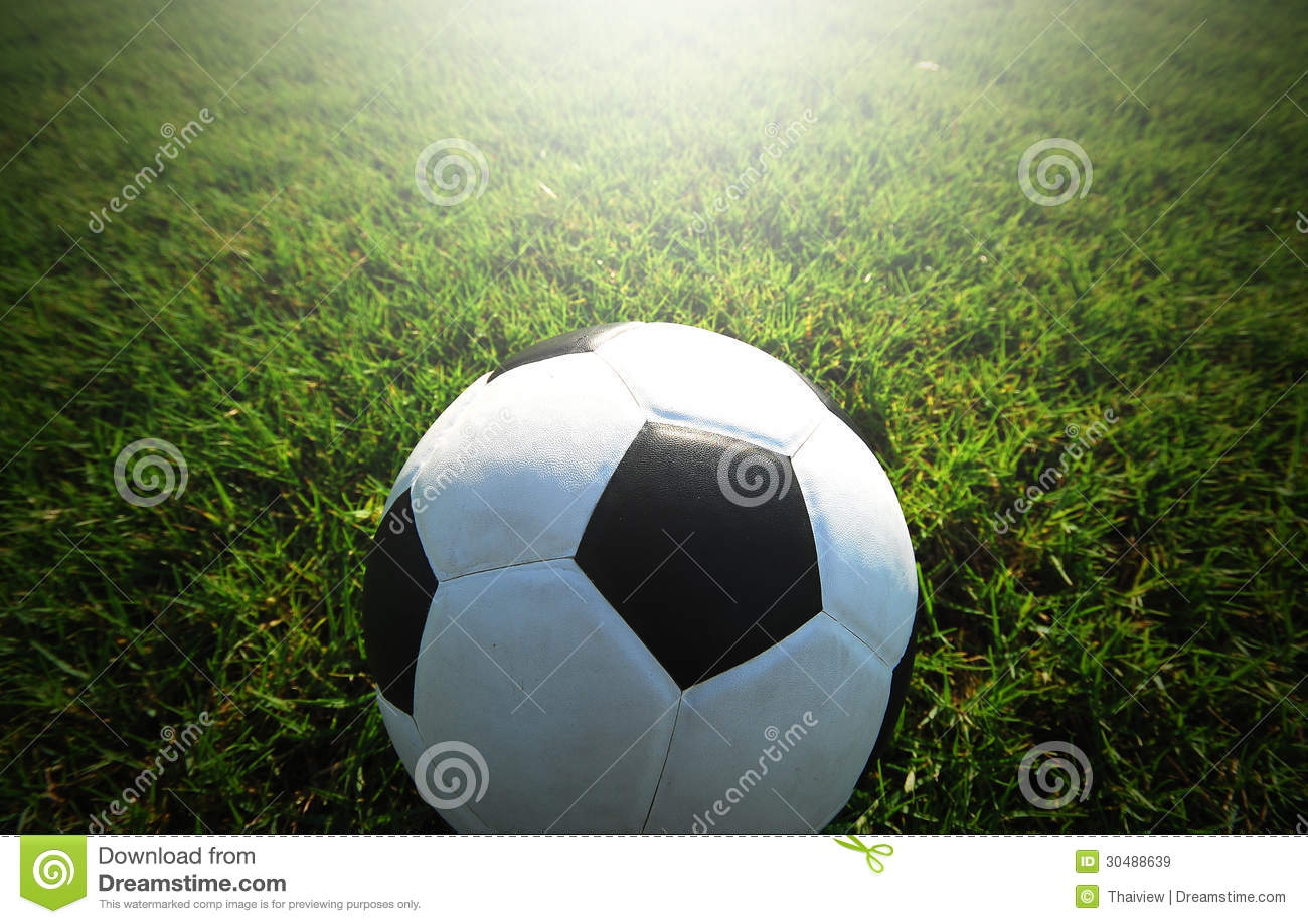 Soccer Football On Green Field With Blue Sky Background: Football Field Soccer Stadium Royalty Free Stock Images