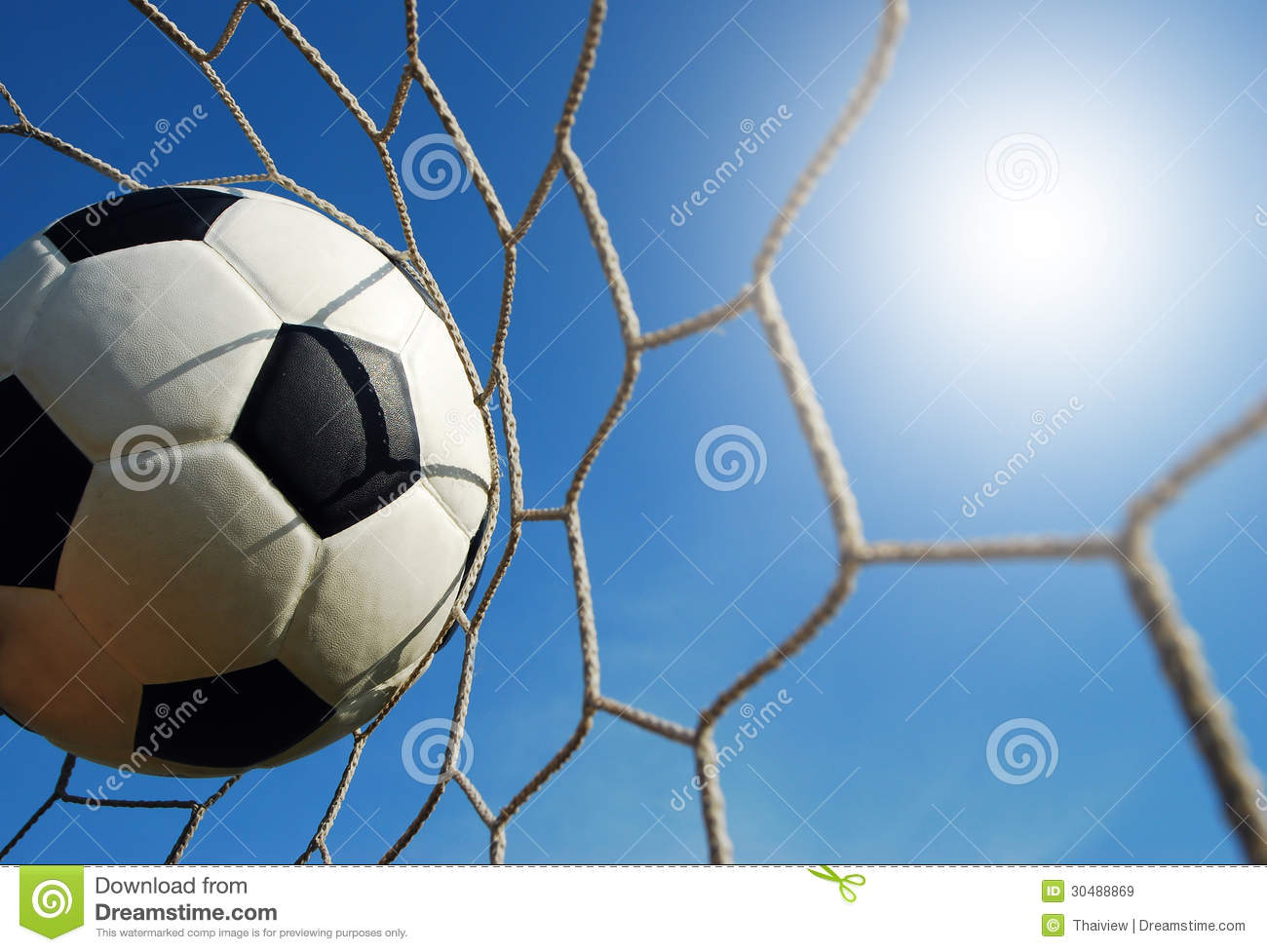 Soccer Football On Green Field With Blue Sky Background: Football Field Soccer Royalty Free Stock Images