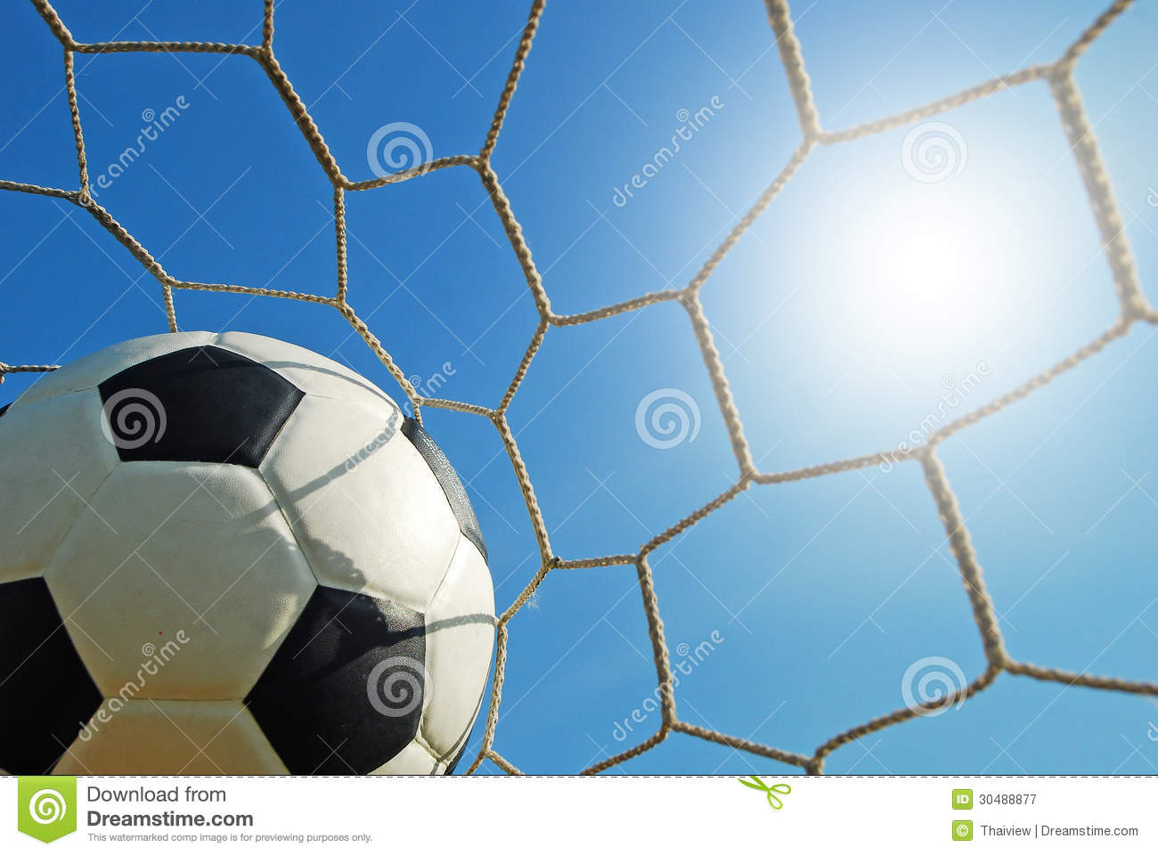 Soccer Football On Green Field With Blue Sky Background: Football Field Soccer Royalty Free Stock Photography