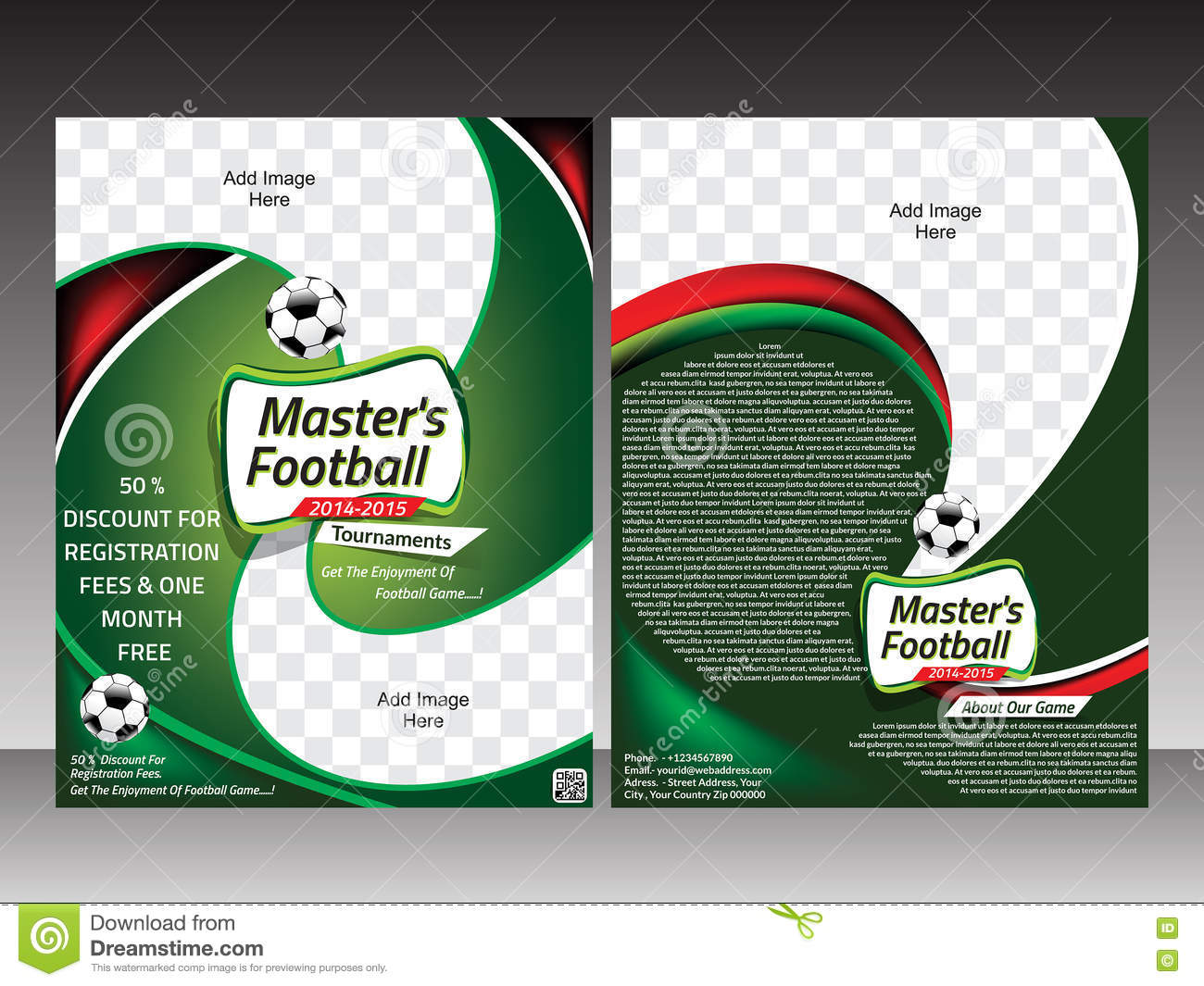Football Flyer Template Design Template Stock Vector Illustration