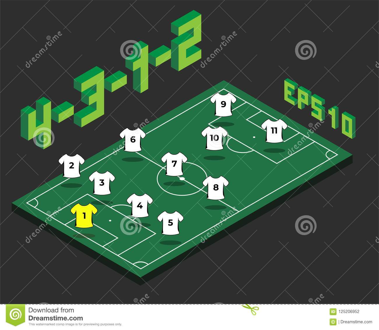 football 4 3 1 2 formation with isometric field stock vector