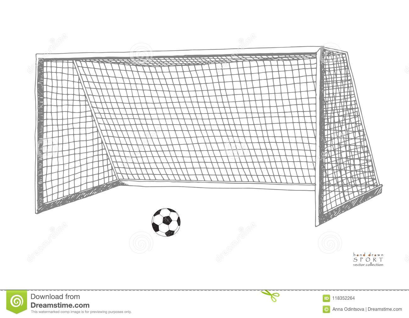 Football goal. Soccer game equipment. Hand drawn vector llustration. Isolated on white background