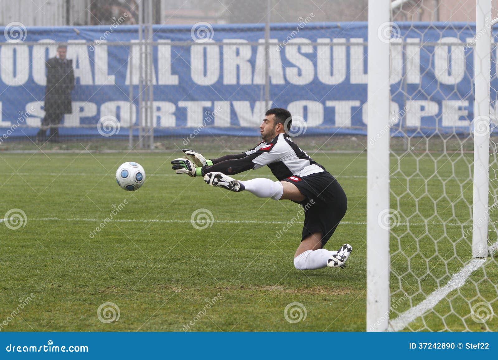 Football goalkeeper parade