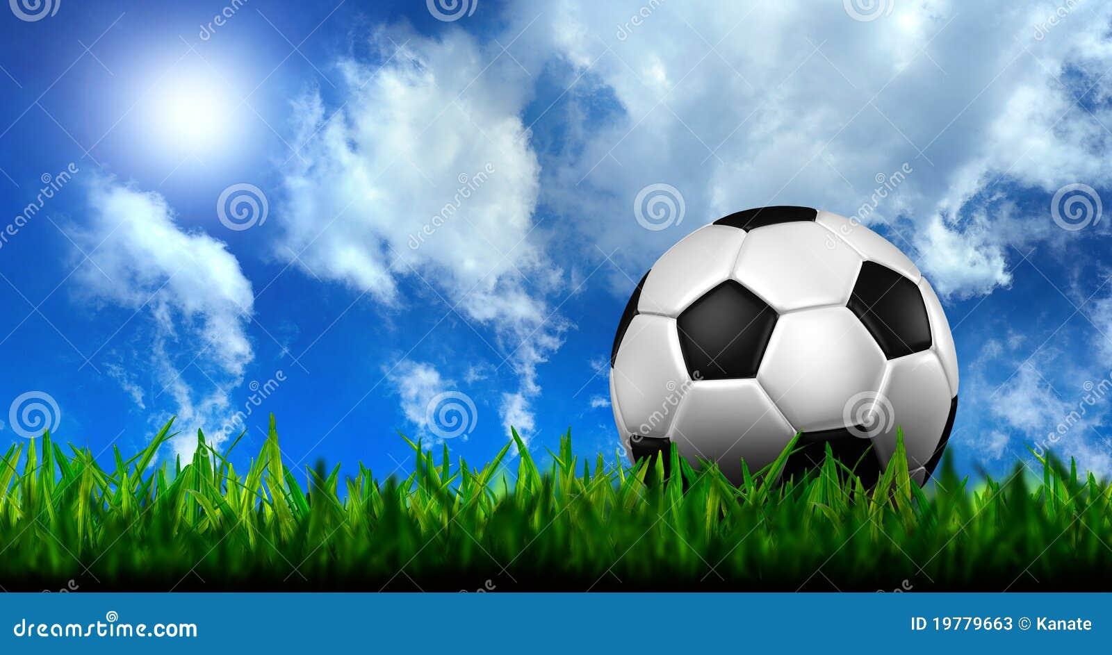 Football In Green Grass Over A Blue Sky Stock Photos ...