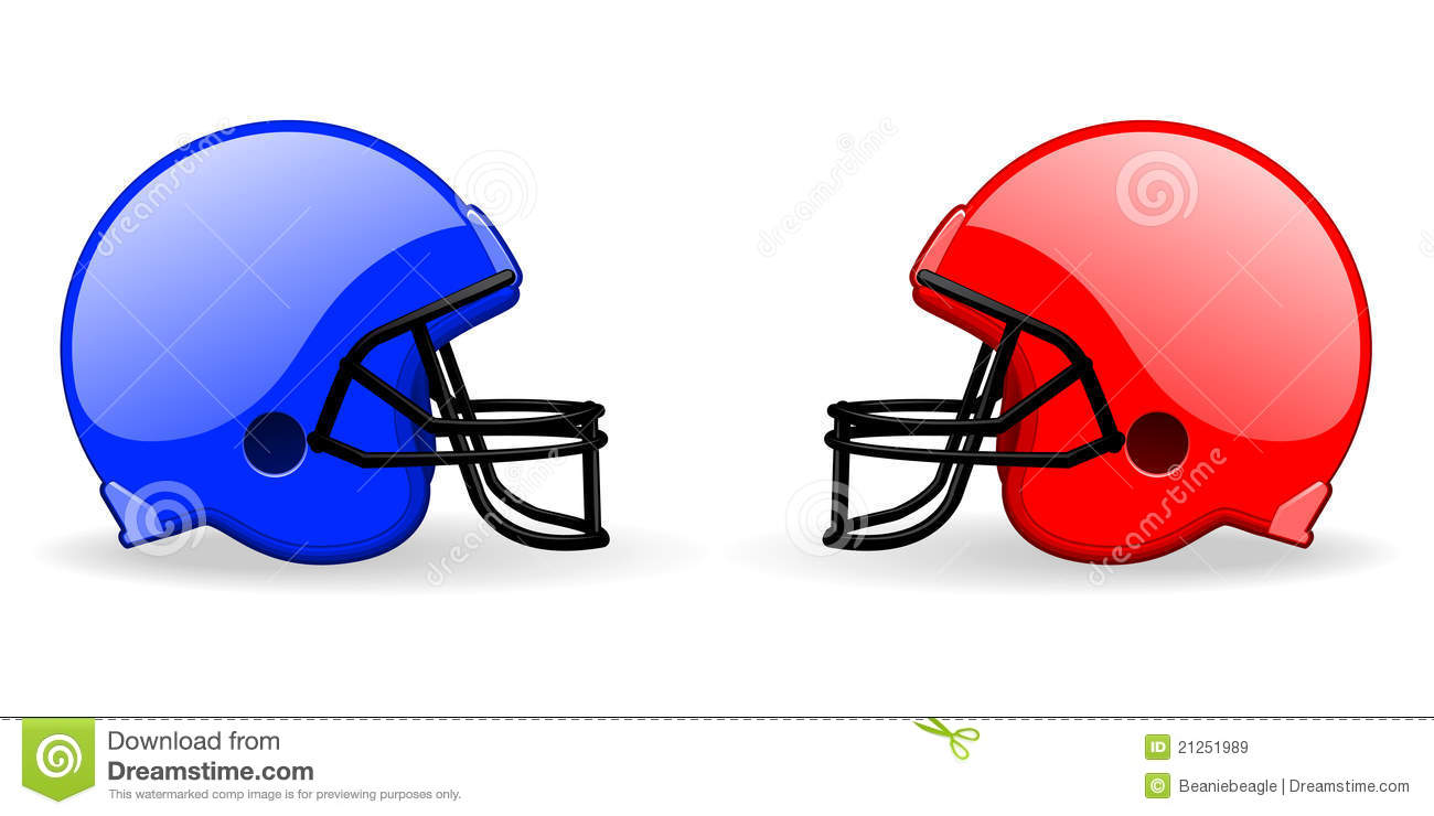 pair of American football helmets facing each other in the versus ...
