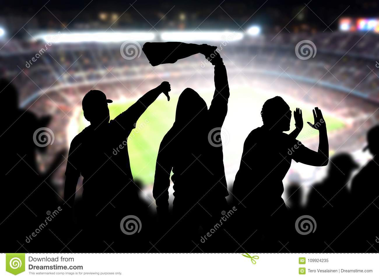 Football hooligans in game. Angry soccer fans.