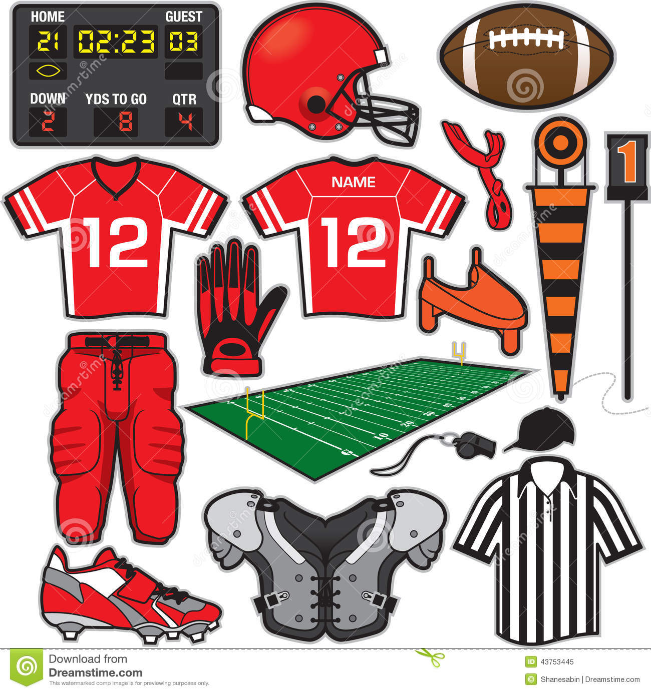 Football Items Stock Vector Illustration Of Pads American 43753445
