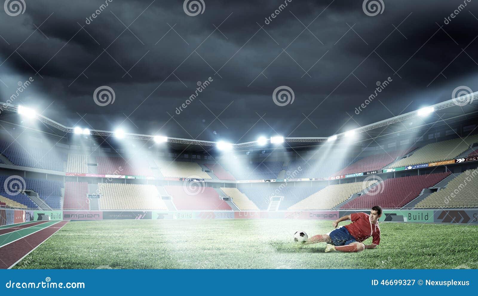 Seamless Vinyl Photography Backdrop Football Stadium Match: Football Kick Stock Photo