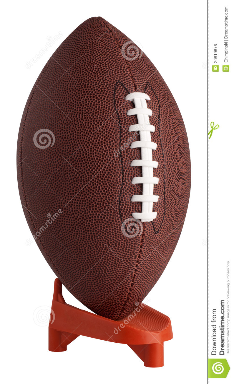 Football on kickoff tee stock photo. Image of vertical