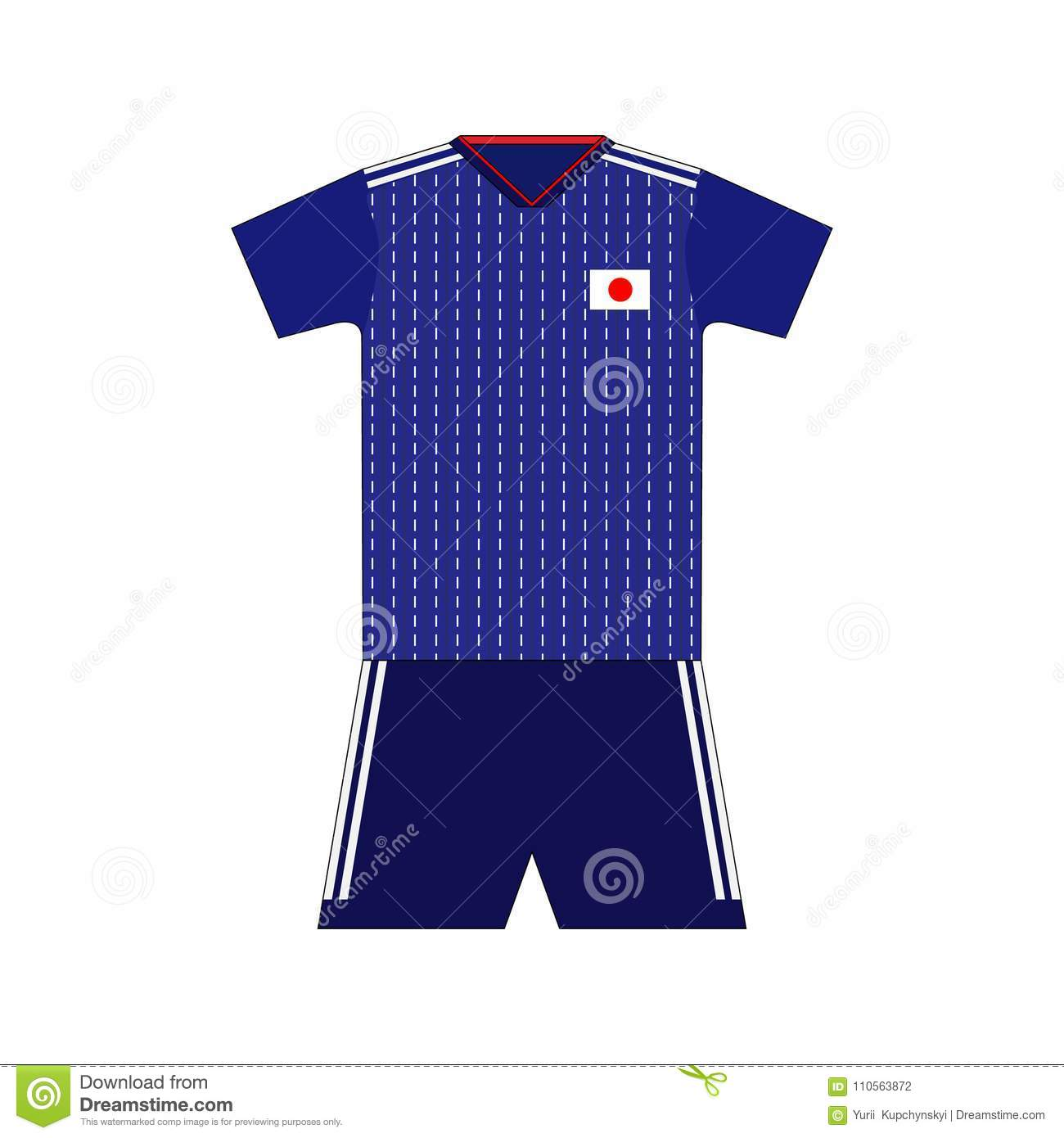 100% authentic 4ae52 6240a Football kit. japan 2018 stock illustration. Illustration of ...