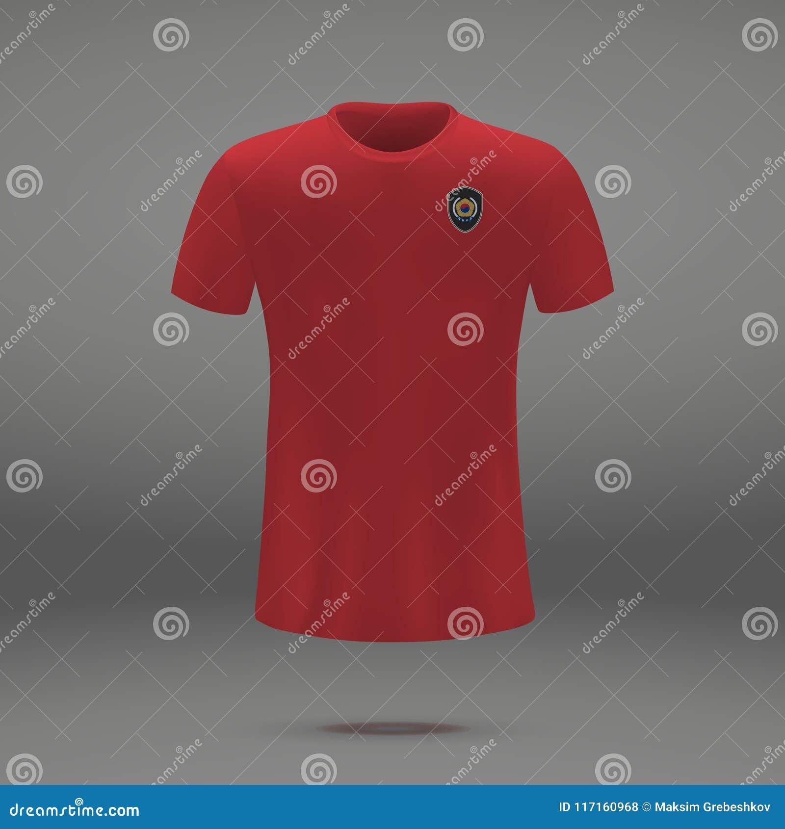 4524a56c8 Football kit of South Korea 2018, t-shirt template for soccer jersey. Vector  illustration. More similar stock illustrations