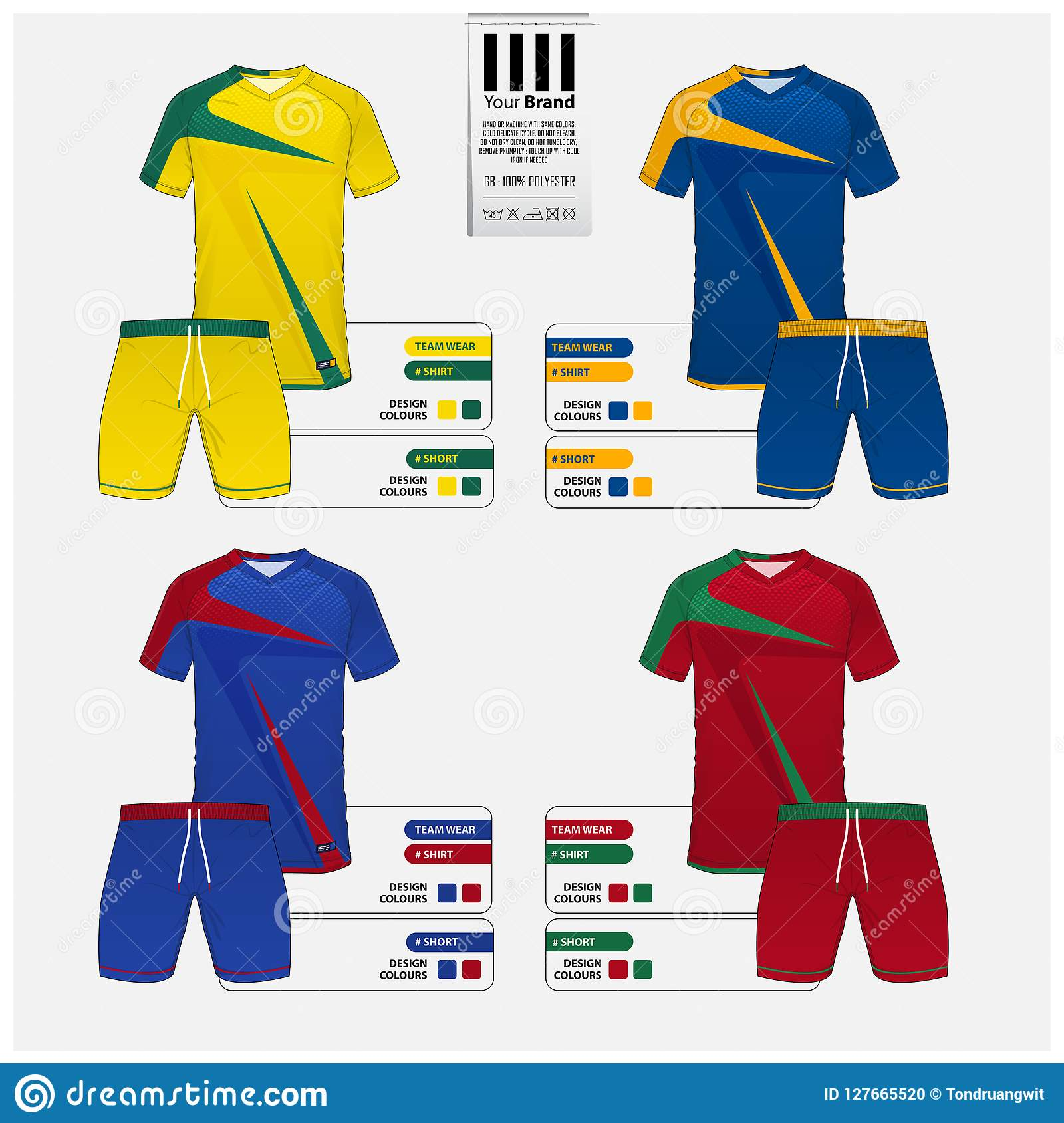 abb27020e Soccer jersey or football kit template design for football club. Set of Blue