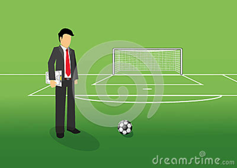 Football manager with tactic board