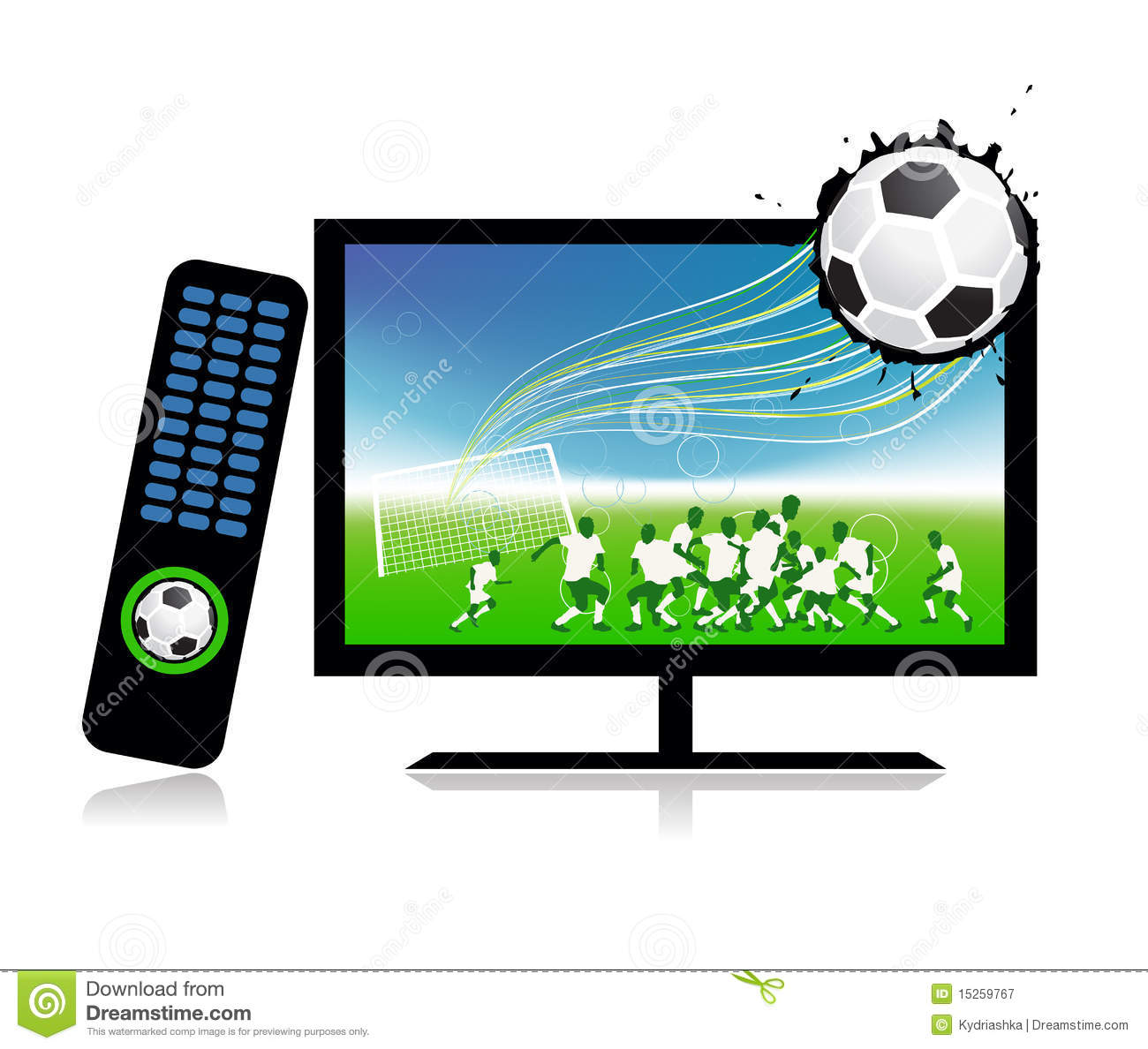 Football Match On Tv Sports Channel Royalty Free Stock ...