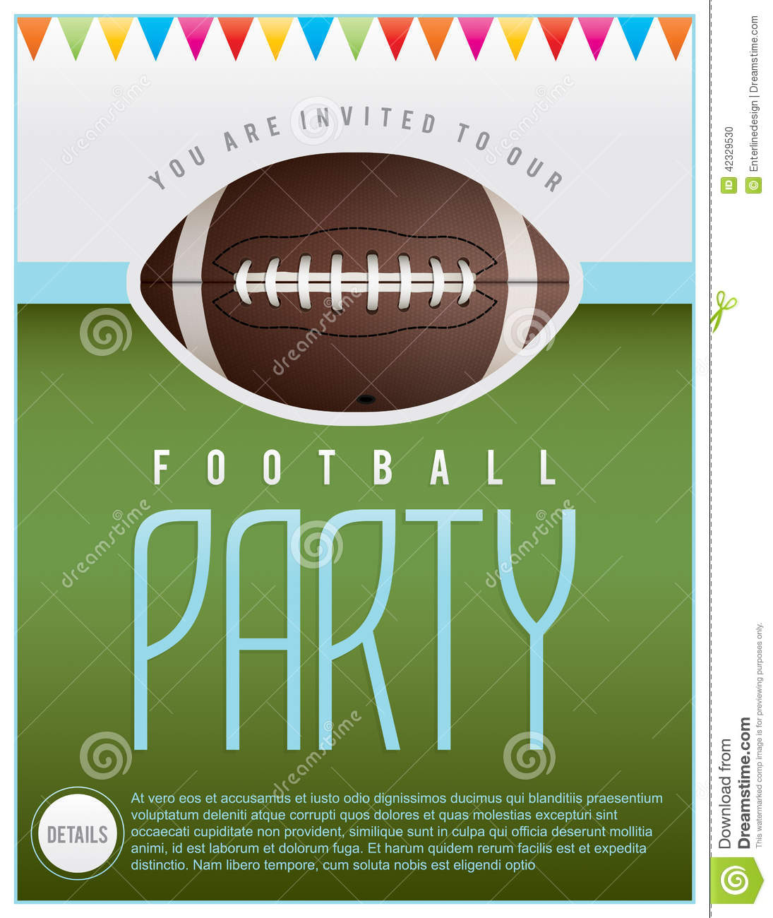 Football Party Flyer Stock Vector - Image: 42329530
