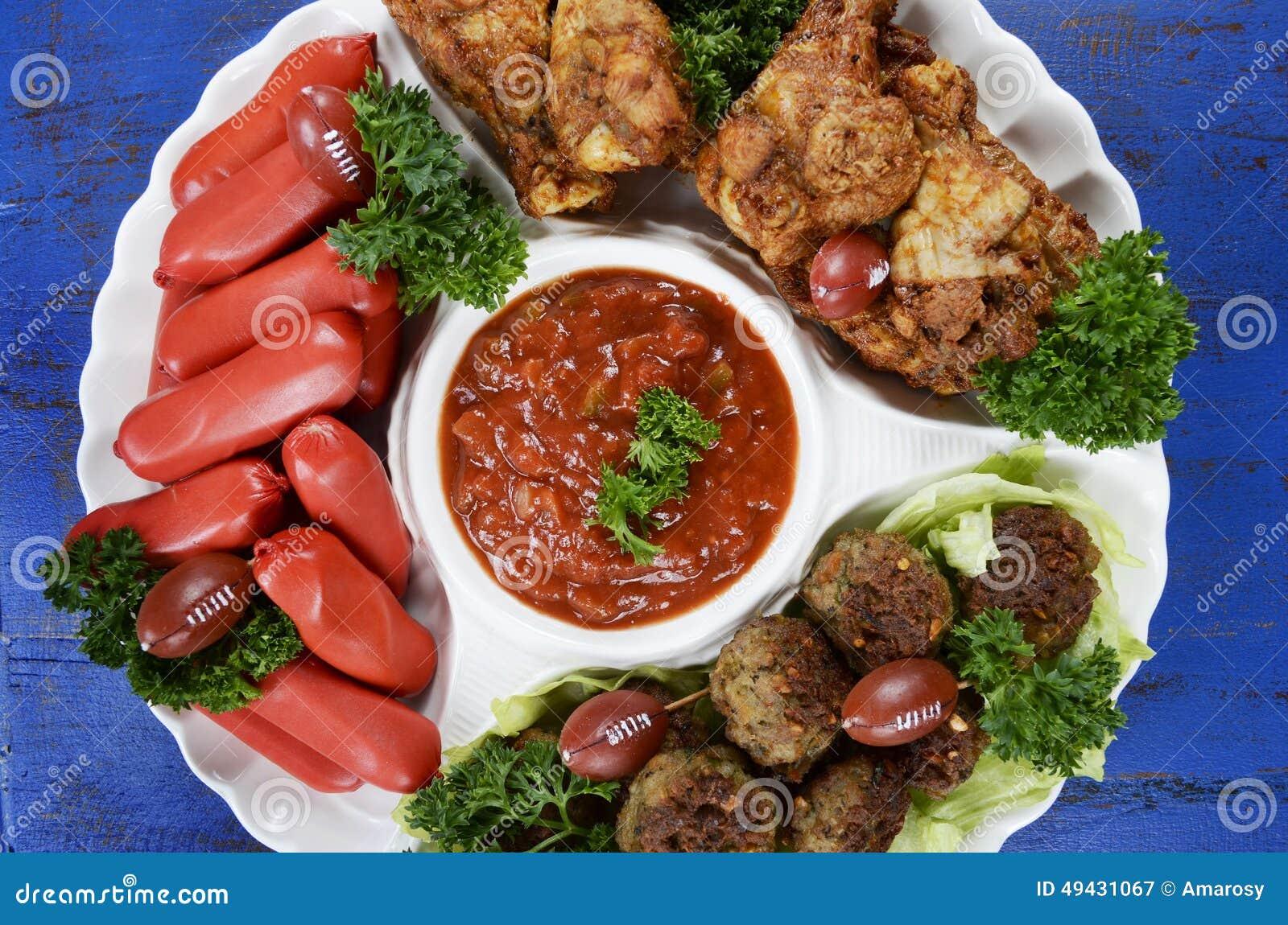 Football Party Food Platter Stock Image Image Of Frankfurters Football 49431067