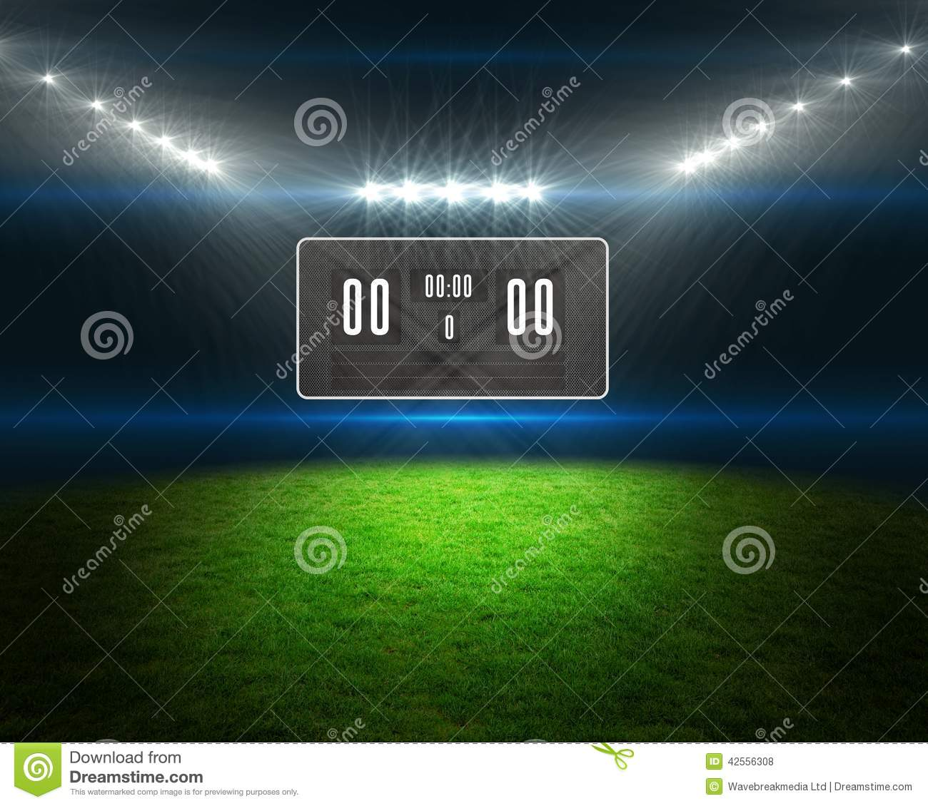 Football pitch with scoreboard