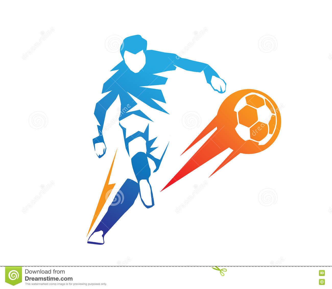 football player in action logo ball on fire penalty kick stock