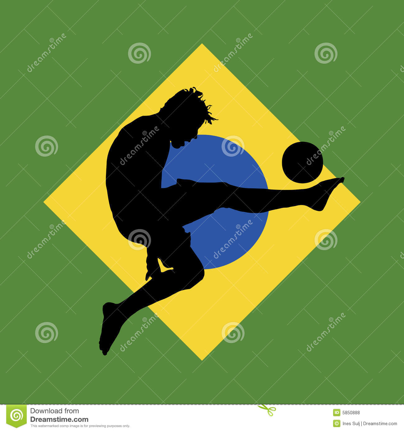 Football Player Brazilian Flag In Background Royalty Free