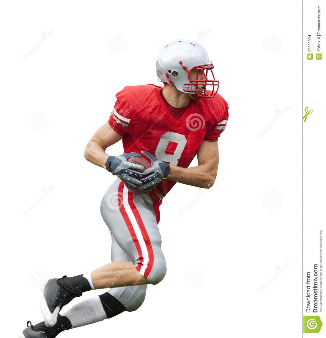 football Player running with the ball isolated on a white background ...