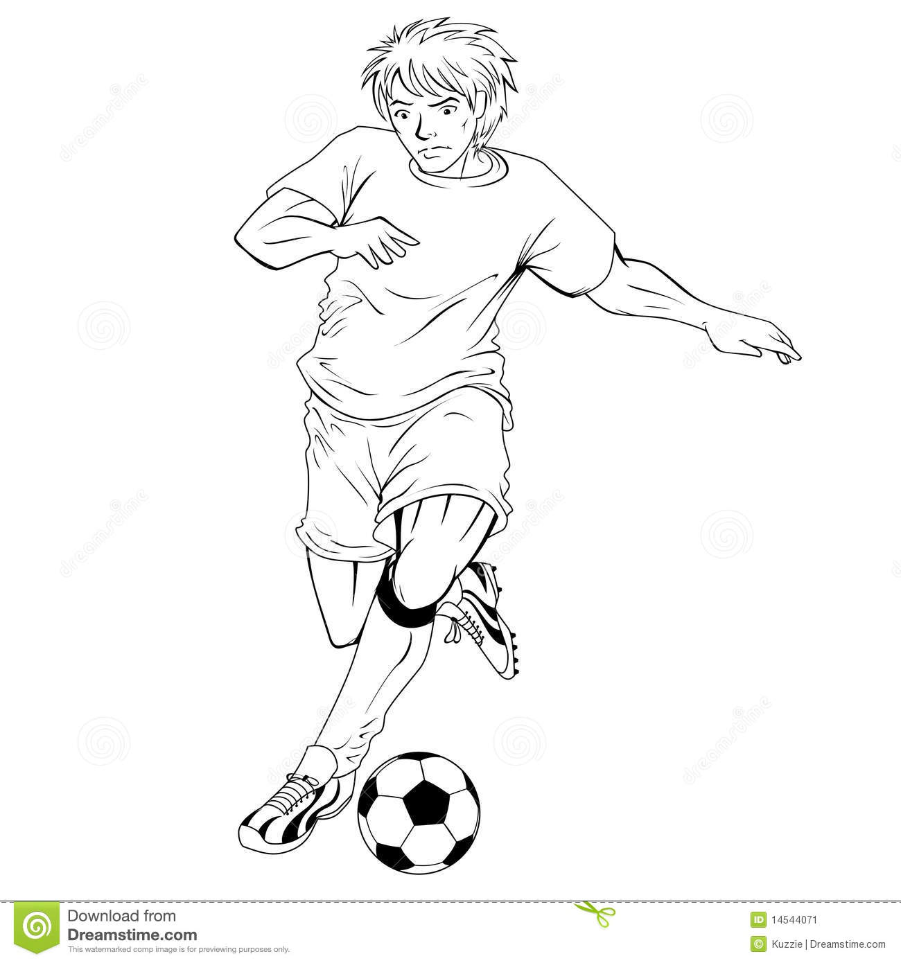 Line Drawing Football : A football player lineart stock vector illustration of