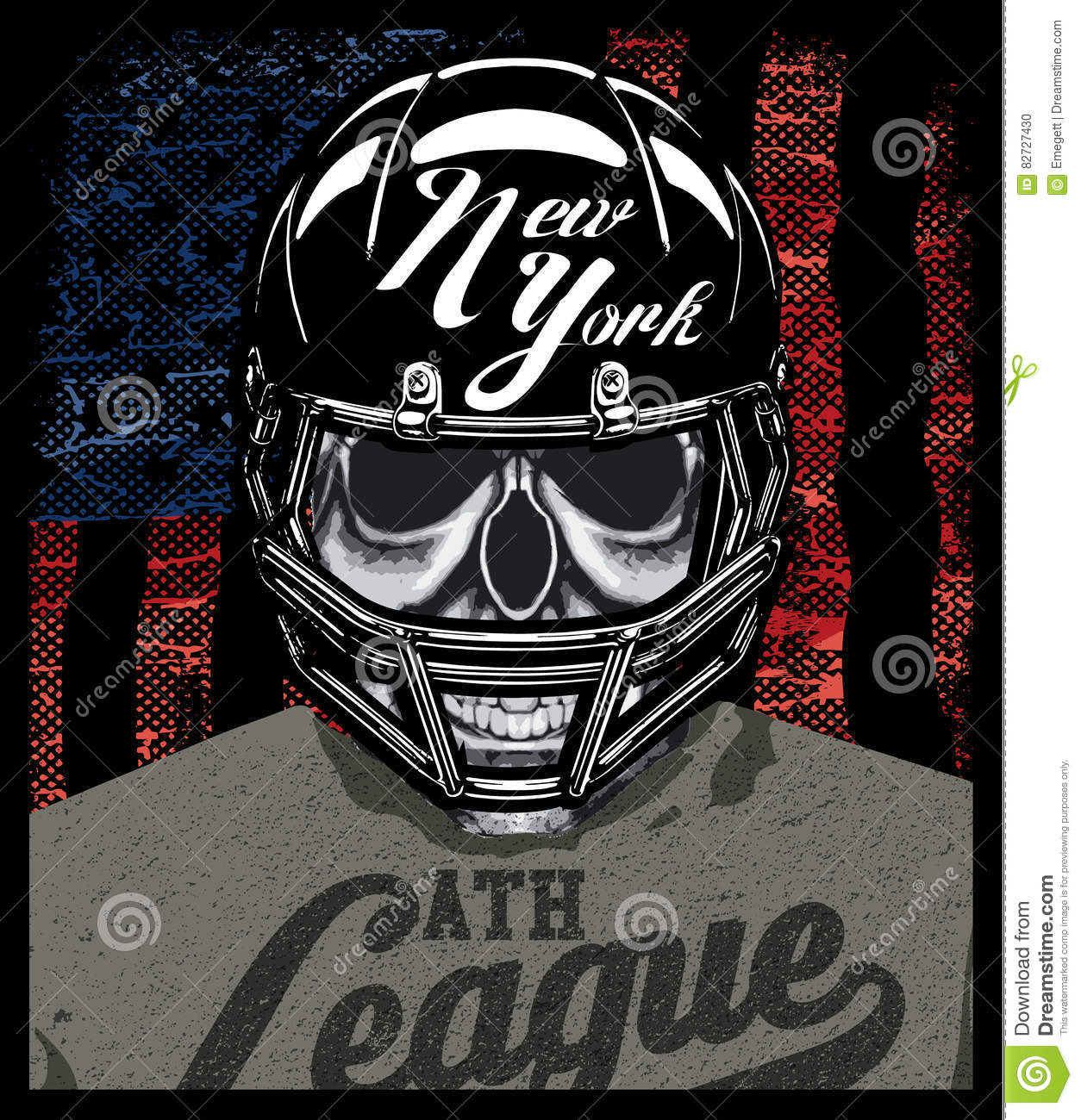 Football Player Skull T Shirt Graphic Design Stock Vector Illustration Of Holiday Modern