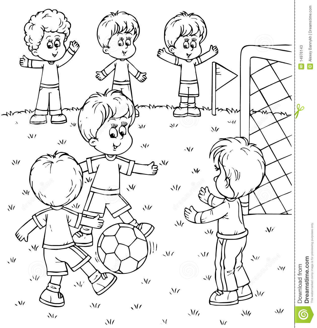 Black and white Illustration coloring Page Small Boys Playing