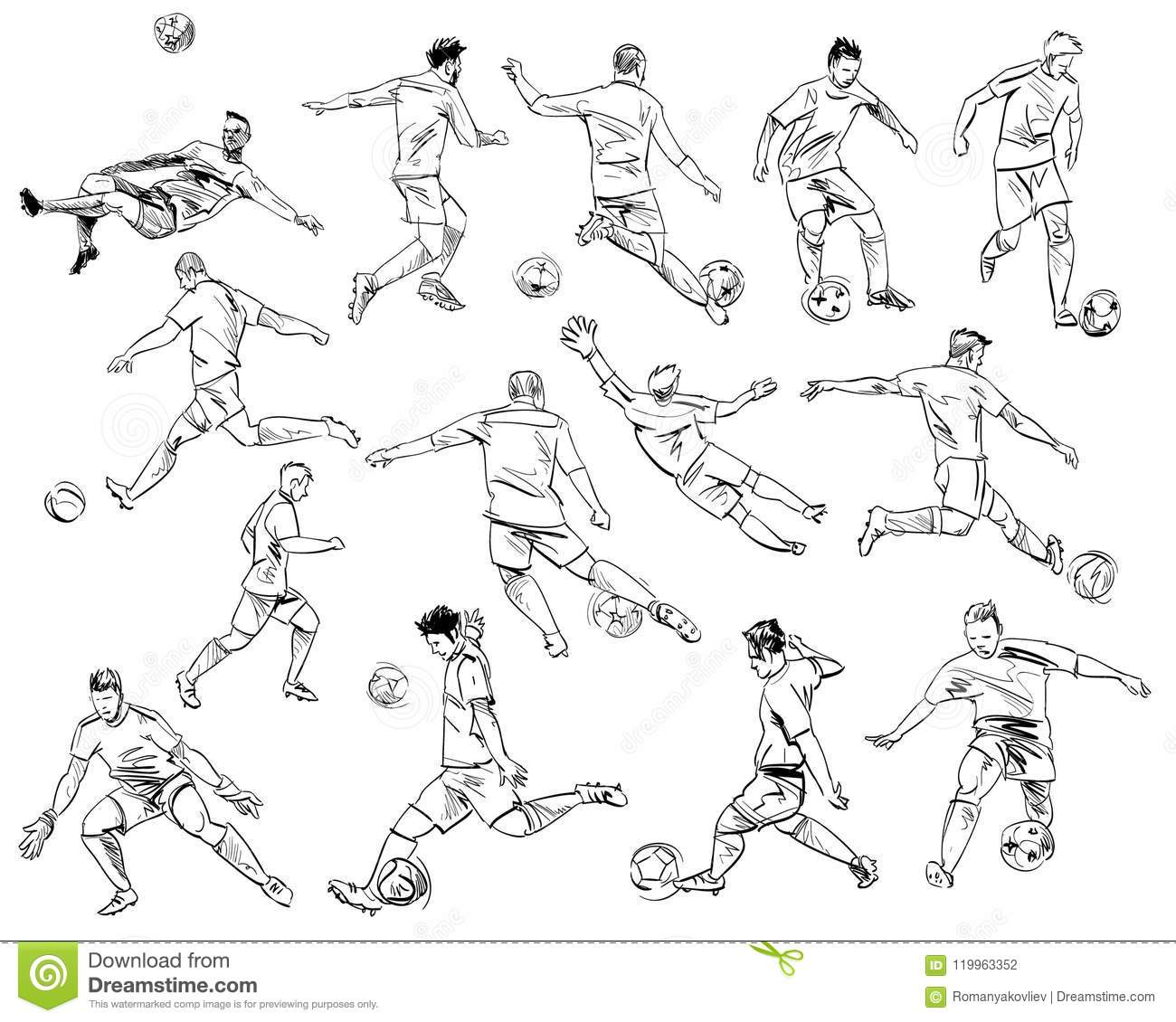 Football players in different poses hand drawn sketch vector illustration