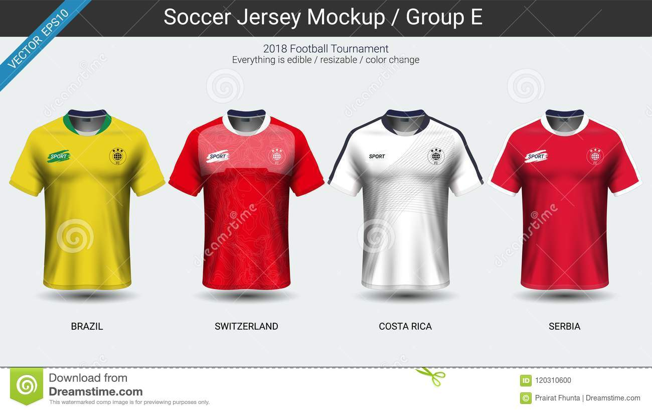 beddd06ba03 Royalty-Free Vector. Football players uniform, National team soccer jersey  2018 group E