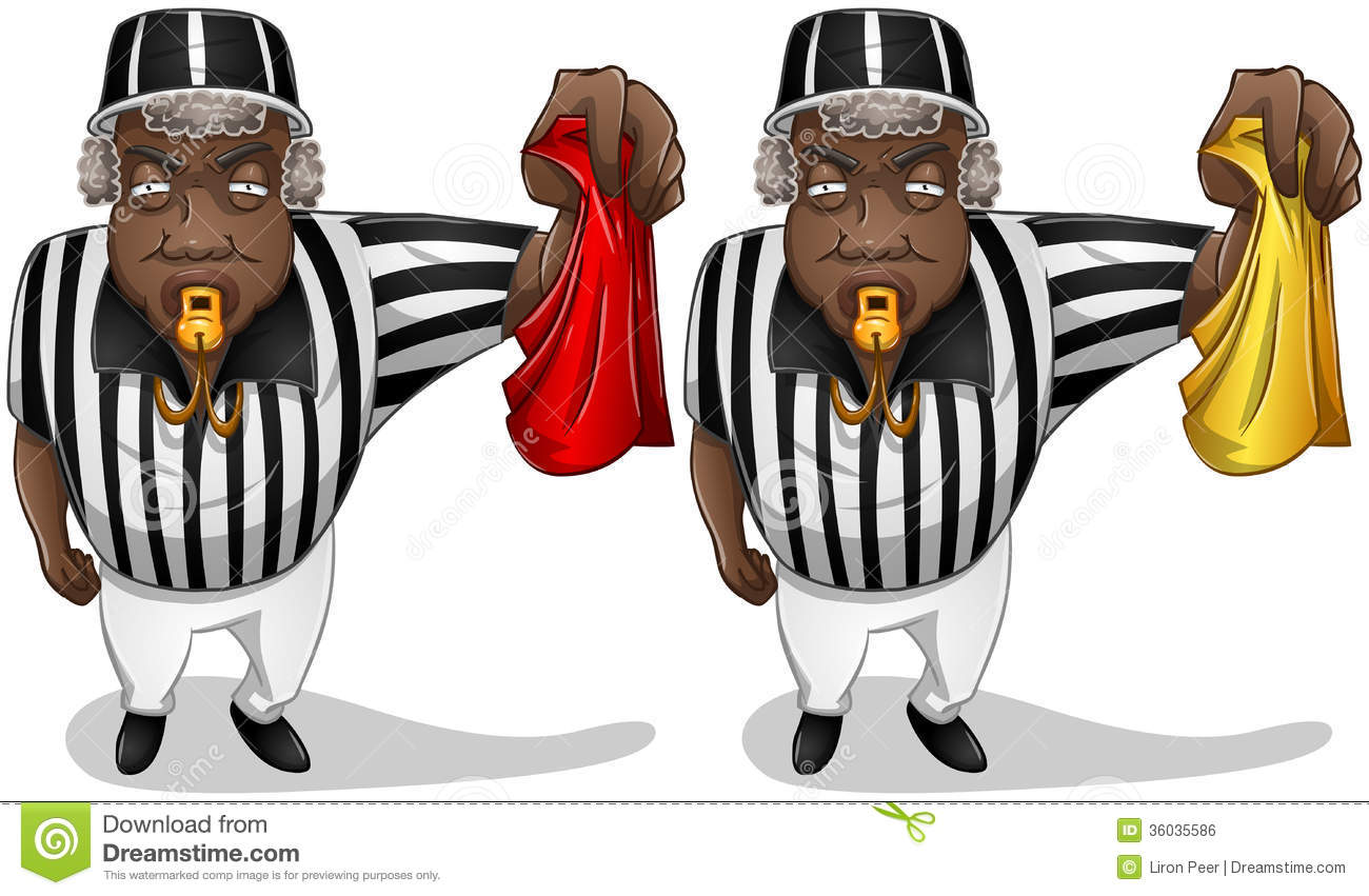 Football Referee With Flag And Whistle Royalty Free Stock Image ...