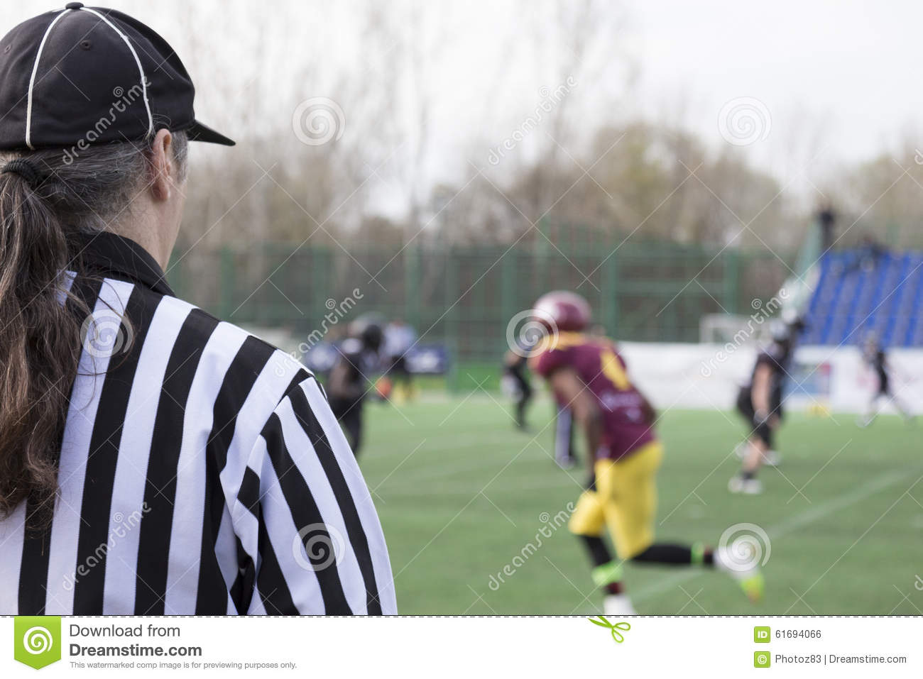 Referee football official signals a touchdown stock photo image - Football Referee Stock Photo Image 61694066