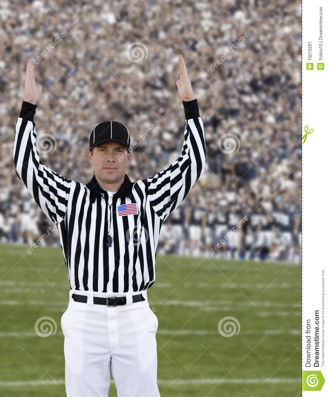 Referee football official signals a touchdown stock photo image - Football Referee Touchdown Stock Image Image 10010281