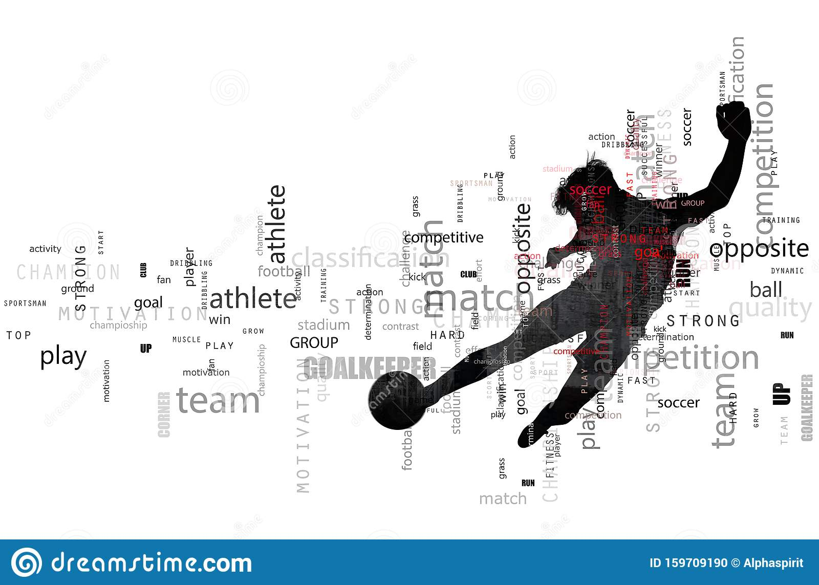 Football scene of a soccer player silhouette in action. Text effect in overlay with the most used terms. Abstract