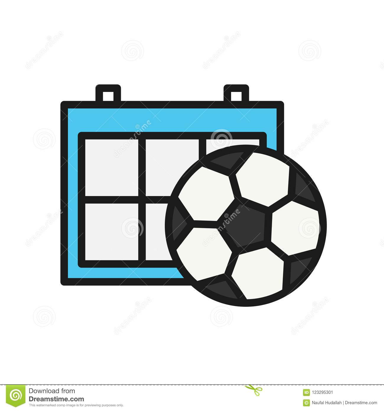 Calendario Sport.Football Schedule Calendar Icon Simple Illustration Outline