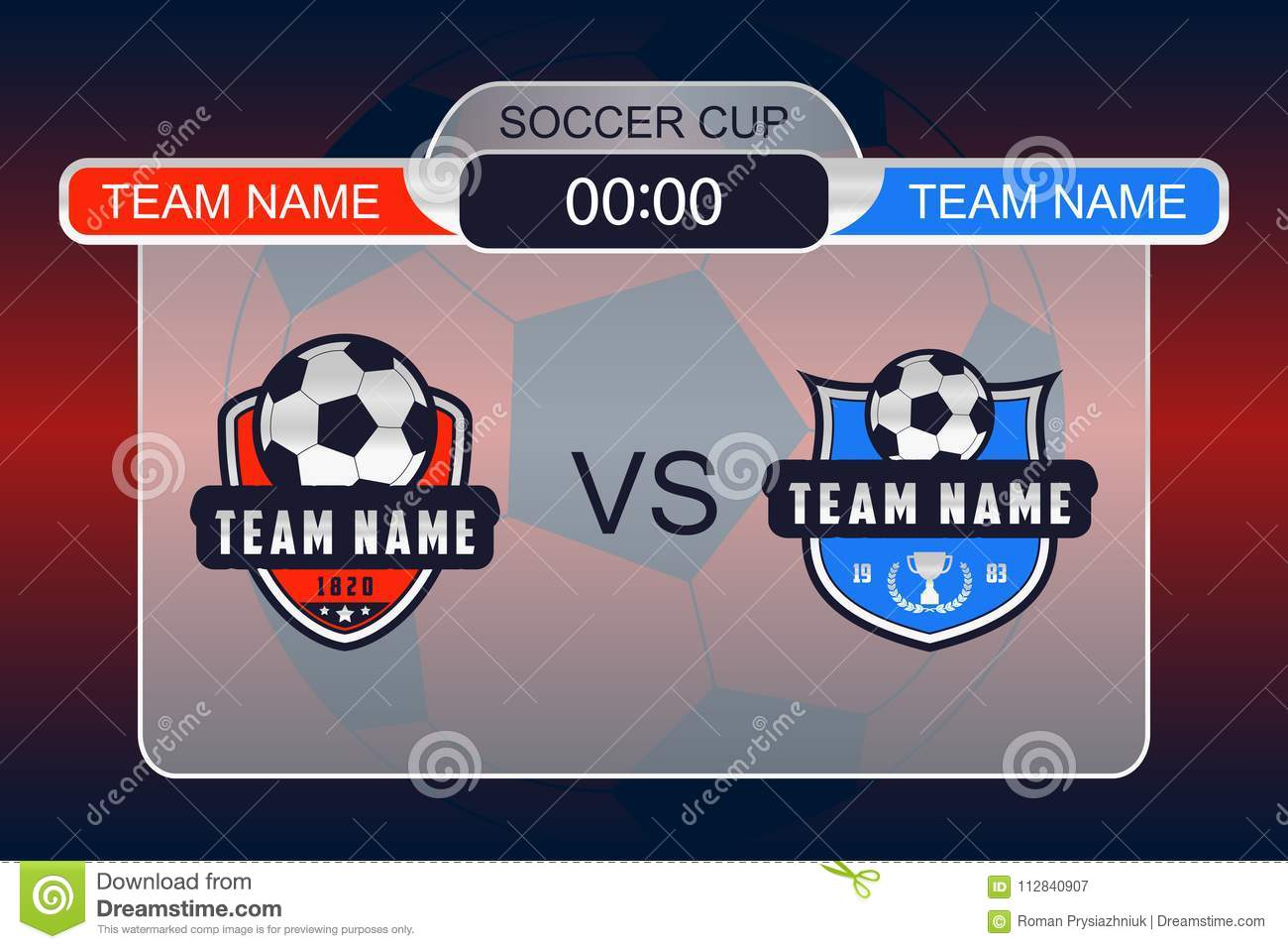 football scoreboard with team logo soccer teams vs each other