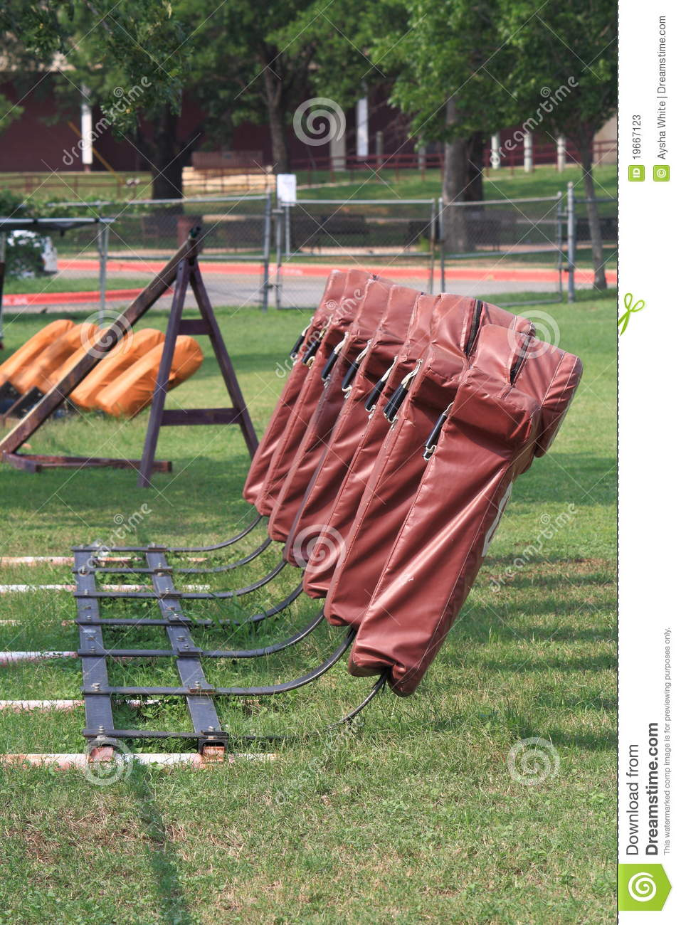 Football Sled Equipment On Field Stock Image Image Of