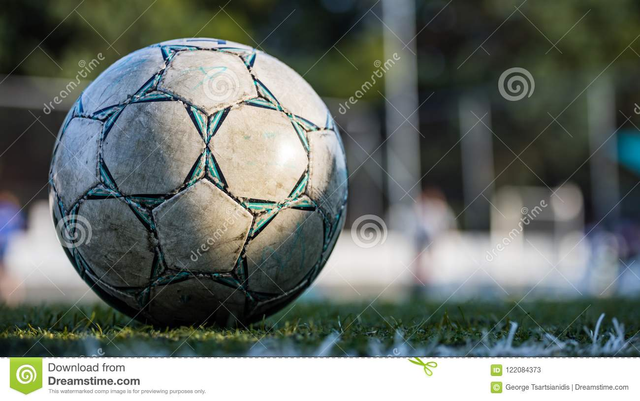 Football Soccer Ball On The Field Isolated With Copy Space In Blurry Background Wallpaper Stock Image Image Of Grass Ball 122084373