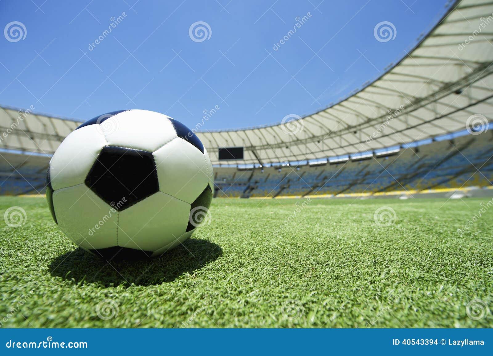 Football Soccer Ball Green Grass Stadium Pitch