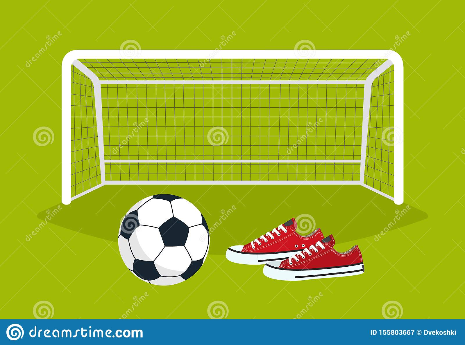 Football. Soccer ball and sneakers on the green field in front of the gate. Vector illustration