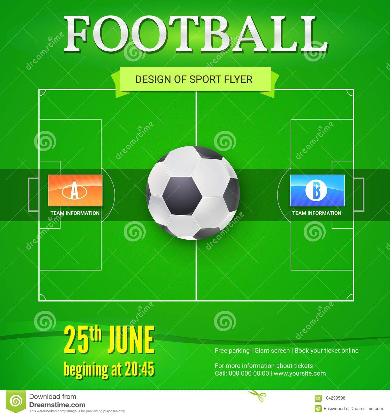 Football Or Soccer Banner With Text Design Template For Game Tournament Football Ball Above Green Field Top View Stock Vector Illustration Of Modern Green 104299598