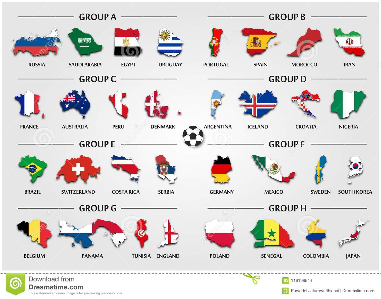 Football or Soccer cup team group set . Country map with national flag .  Vector for international world championship tournament 2018 . 1b8f352e3