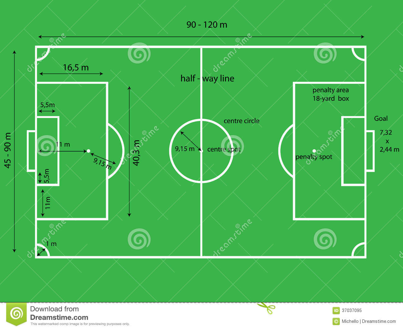Football Soccer Field Stock Vector Illustration Of