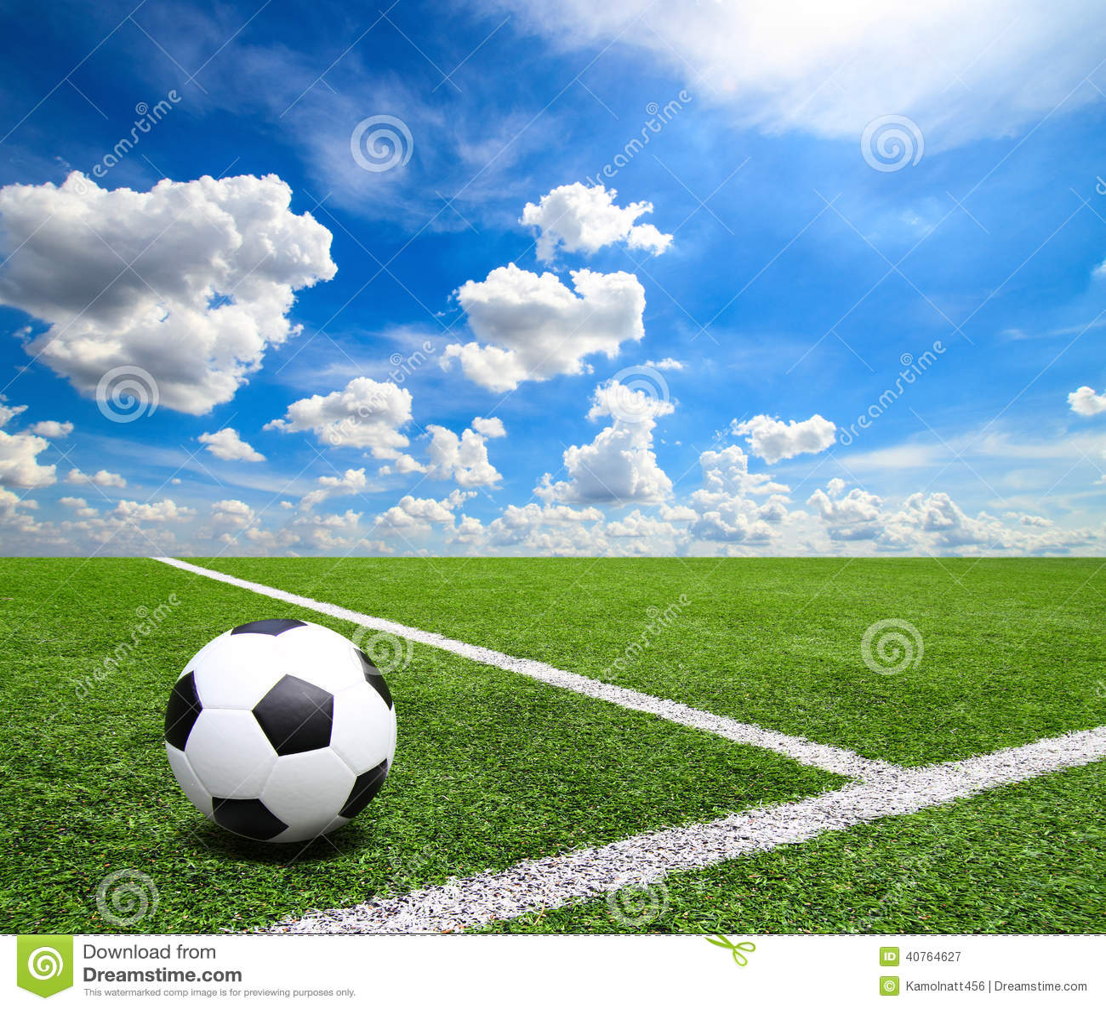 Football And Soccer Field Grass Stadium Blue Sky ...
