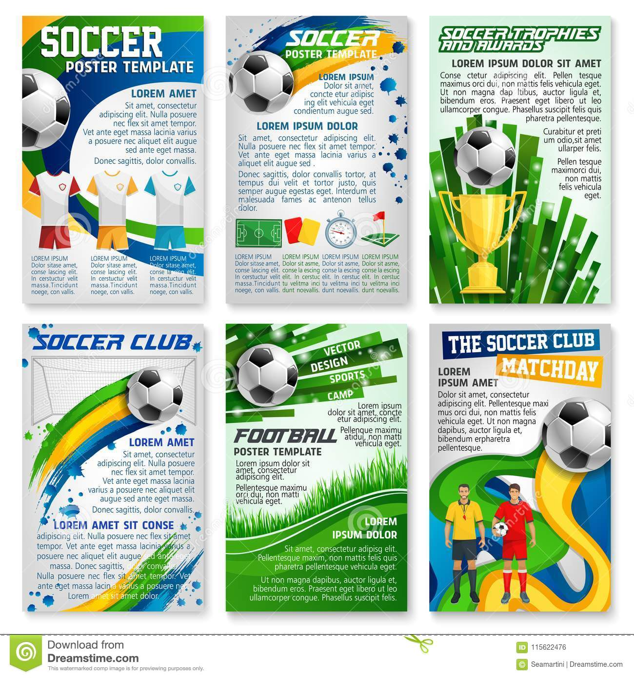 Football Or Soccer Game Banner, Sport Club Design Stock Vector Inside Soccer Referee Game Card Template