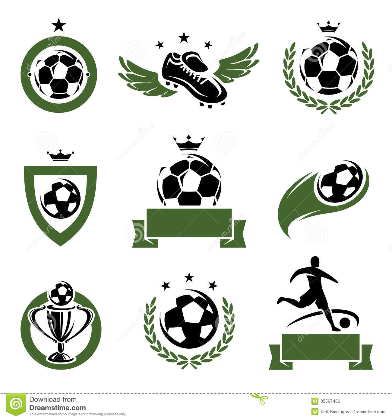 football and soccer labels and icons set vector stock