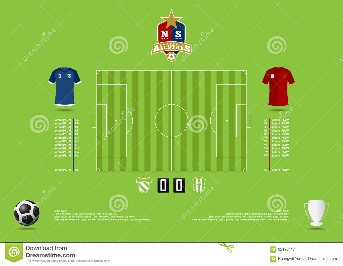 Football or soccer match statics infographic. Football formation tactic. Football logo. Flat design. Vector