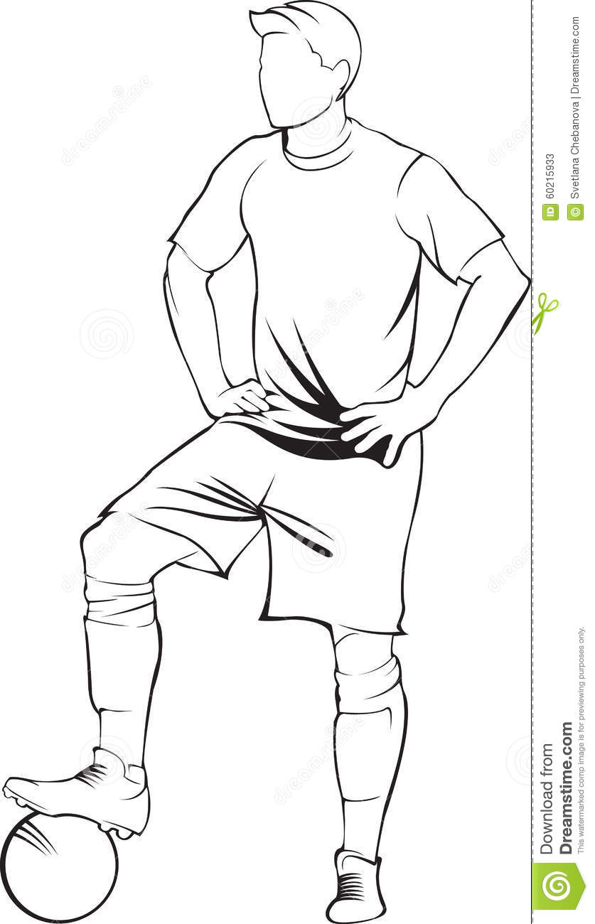 Football Soccer Player With Ball Stock Vector