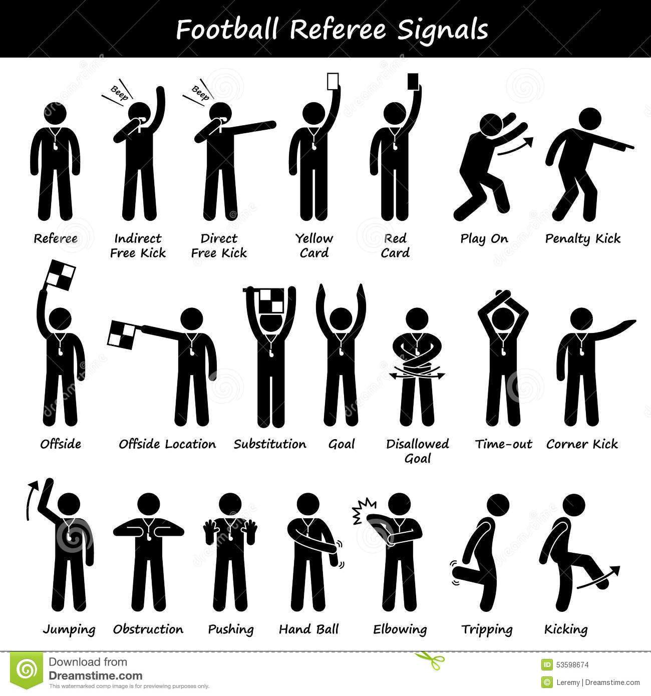 Download Football Soccer Referees Officials Hand Signals Cliparts Stock Vector - Illustration of pictogram, hand: 53598674